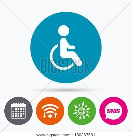 Wifi, Sms and calendar icons. Disabled sign icon. Human on wheelchair symbol. Handicapped invalid sign. Go to web globe.