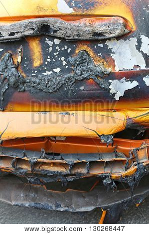 Melted and Dameged Car After Fire Inferno