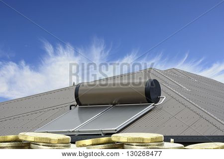 solar panels on roof with coins in the forground