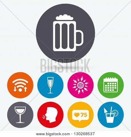 Wifi, like counter and calendar icons. Alcoholic drinks icons. Champagne sparkling wine with bubbles and beer symbols. Wine glass and cocktail signs. Human talk, go to web.