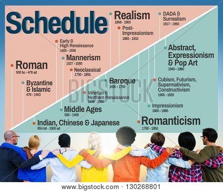 Schedule Art Style History Timeline Evolution Concept