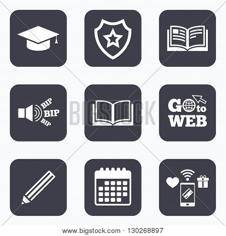 Mobile payments, wifi and calendar icons. Pencil and open book icons. Graduation cap symbol. Higher education learn signs. Go to web symbol.