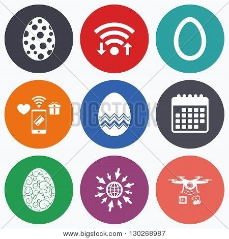Wifi, mobile payments and drones icons. Easter eggs icons. Circles and floral patterns symbols. Tradition Pasch signs. Calendar symbol.