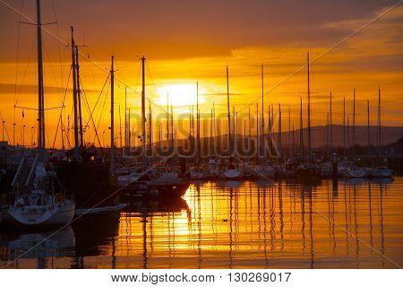 Harbour Reflection At Sunset. Calais, Nord-pas-de-calais, France