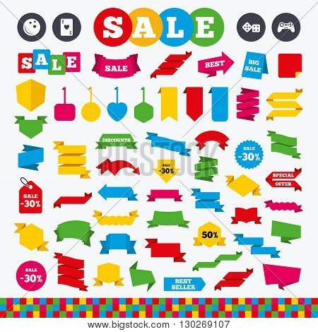 Banners, web stickers and labels. Bowling and Casino icons. Video game joystick and playing card with dice symbols. Entertainment signs. Price tags set.