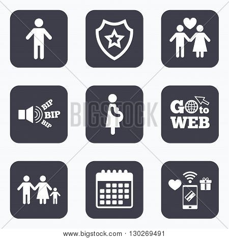 Mobile payments, wifi and calendar icons. Family lifetime icons. Couple love, pregnancy and birth of a child symbols. Human male person sign. Go to web symbol.