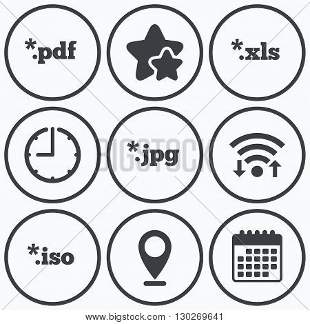 Clock, wifi and stars icons. Document icons. File extensions symbols. PDF, XLS, JPG and ISO virtual drive signs. Calendar symbol.