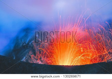 The Eruption Of The Volcano. Tafea, Vanuatu