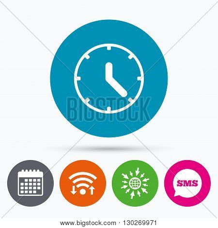 Wifi, Sms and calendar icons. Clock sign icon. Mechanical clock symbol. Go to web globe.