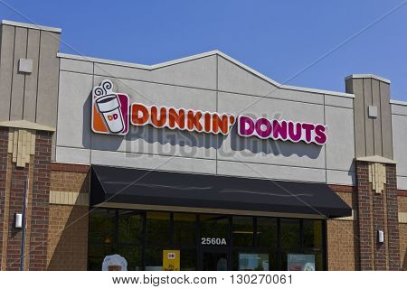 Indianapolis - Circa May 2016: Dunkin' Donuts Retail Location. Dunkin' is America's favorite every day all-day stop for coffee and baked goods III