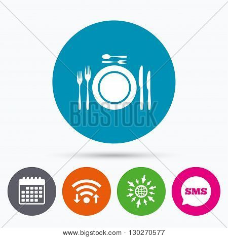 Wifi, Sms and calendar icons. Plate dish with forks and knifes. Dessert trident fork with teaspoon. Eat sign icon. Cutlery etiquette rules symbol. Go to web globe.