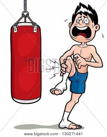 Vector Illustration of Thai Boxing kick cartoon