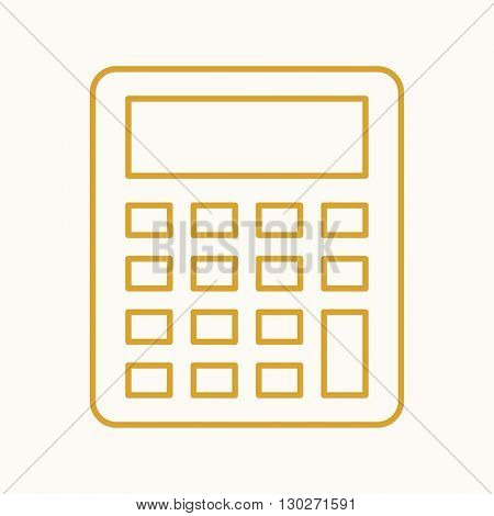 Calculator icon, vector web sign in thin lines. Banking icon flat. Design mortgage icon, vector pictogram.