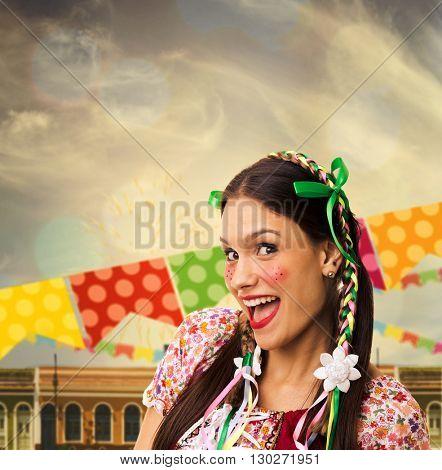 Brazilian brunette woman wearing junina costume