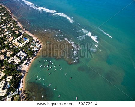 Top view of Praia do Forte beach in Bahia, Brazil