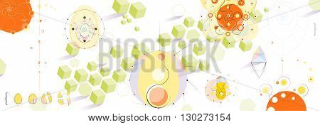 Playful and Colorful Panoramic Abstract Background Vector Illustration