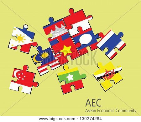 ASEAN Economic Community, AEC jigsaw concept .