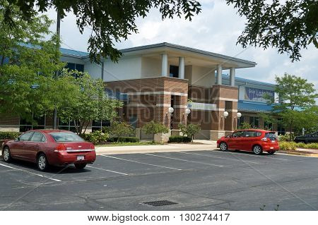 ROMEOVILLE, ILLINOIS / UNITED STATES - AUGUST 10, 2015: The Abri Credit Union offers banking services from its headquarters office in Romeoville.