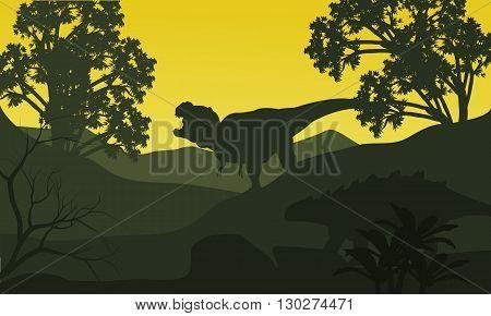 On the hills silhouette ankylosaurus and tyrannosaurus at the morning