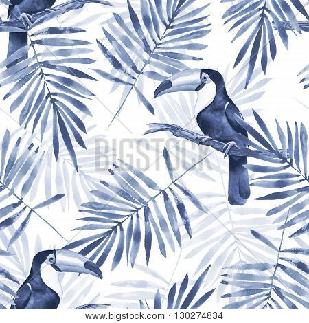 Palm leaves and Toucan. Watercolor seamless pattern 1