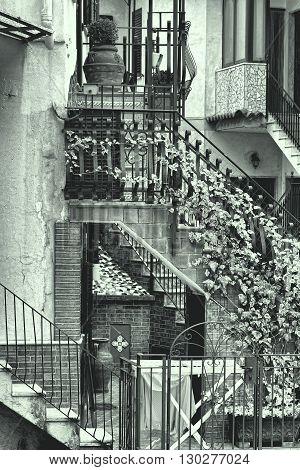 Narrow Street as Stairs in Italian City of Cetara Retro Image Filtered Style