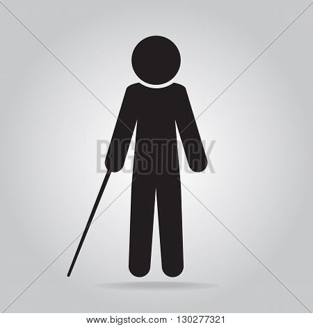 Blind man with stick symbol vector illustration