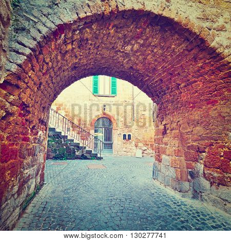 Old Arch in Italian Medieval City Retro Effect