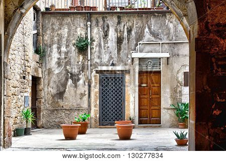 Courtyard in the Sicilian City of Piazza Armerina