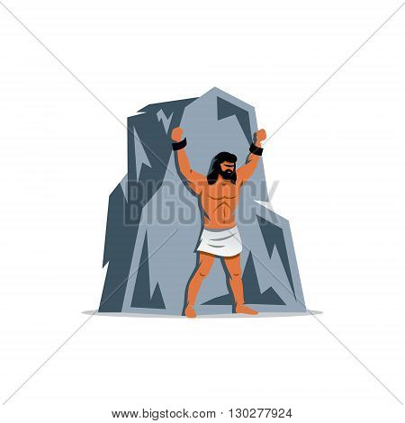 Man chained to a mountain isolated on a white background