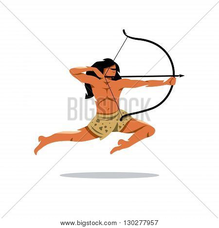 Warrior jumps and shoots. Isolated on a white background