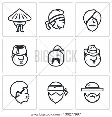 Human head of different nations isolated on a White Background