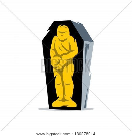 Mummified man in a coffin in a standing position isolated on a White Background