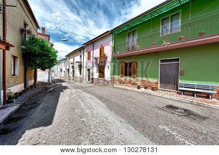 Street with Old Buildings in the Small Italian City