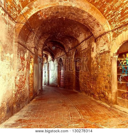Old Arch in Italian Medieval City of Perugia