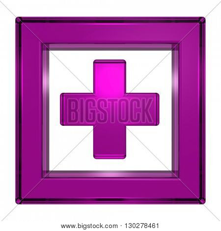 Purple cross in the square isolated on white. 3D illustration.