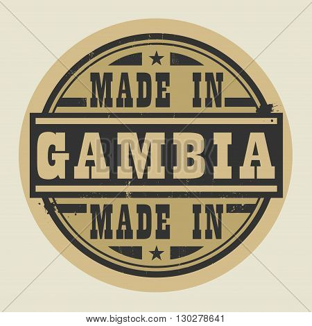 Abstract stamp or label with text Made in Gambia, vector illustration