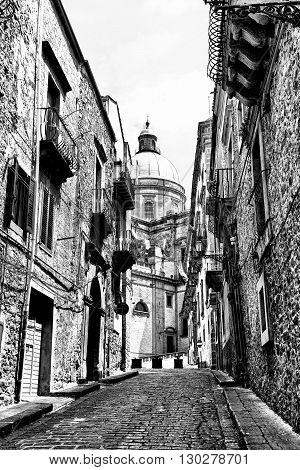 View to Historic Center City of Piazza Armerina in Sicily Retro Image Filtered Style
