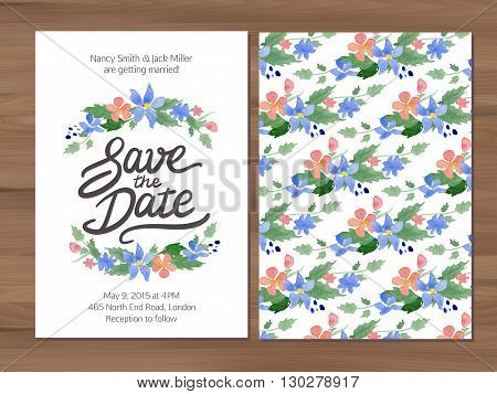 Save the date wedding invitation with watercolor flowers and hand drawn lettering. Card template on a wooden background. Illustrator swatch for seamless background included. Free font used - Afta sans.