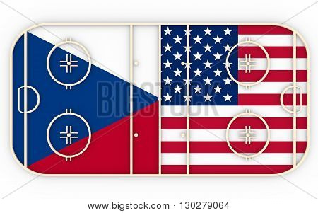 Czech vs USA. Ice hockey competition 2016. National flags on playground. 3D rendering