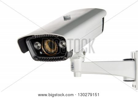 white CCTV security camera on white background