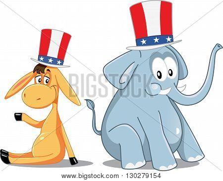 Democrat Donkey and Republican Elephant Vector Election Cartoon