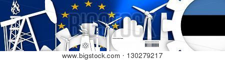 Energy and Power icons set. Header banner with Estonia flag. Sustainable energy generation and heavy industry. European Union flag backdrop. 3D rendering