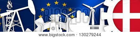 Energy and Power icons set. Header banner with Denmark flag. Sustainable energy generation and heavy industry. European Union flag backdrop. 3D rendering