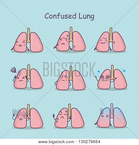 Confused cartoon Lung set great for your design