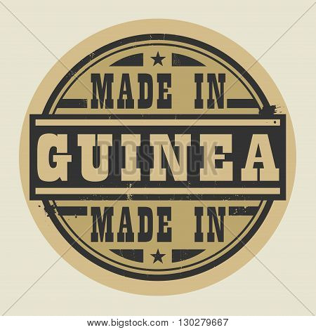 Abstract stamp or label with text Made in Guinea, vector illustration