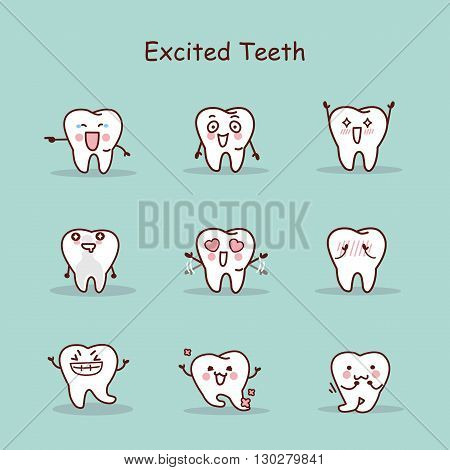 Excited cartoon tooth set great for your design