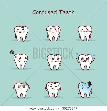 Confused cartoon tooth set great for your design