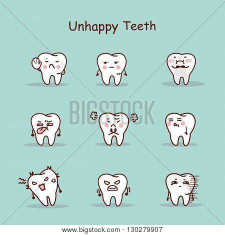 Unhappy cartoon tooth set great for your design