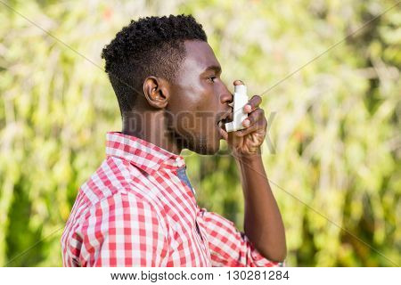 Man is taking a breath of air fresh