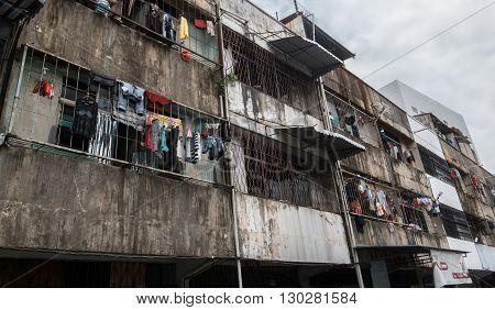 BATAM INDONESIA - FEBRUARI 7 2015 : Flats at the slum area in Batam Indonesia.